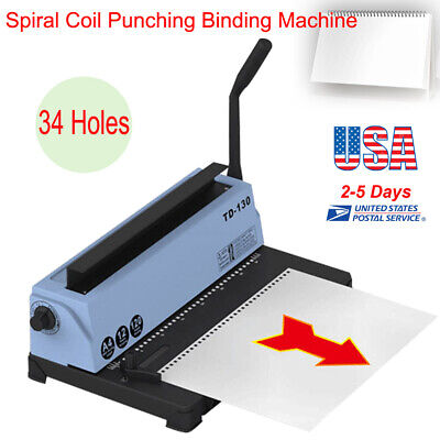 34h Spiral Coil Calendar Binding Machine Punching Binding 120pages Capacity Us