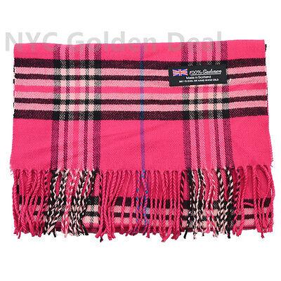 Hot Pink Plaid Design - Women 100% CASHMERE Scarf Hot Pink tartan Checked Plaid Stripe Design Soft