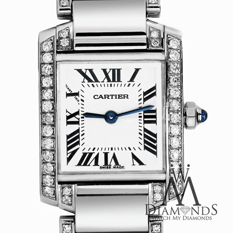 Ladies Stainless Steel Diamond Cartier Tank W51008q3 Complete With Box & Papers