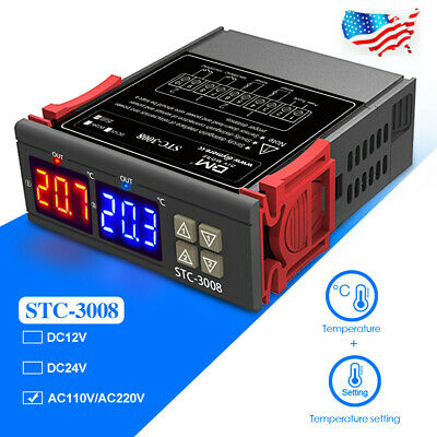 Stc-3008 Ac 110-220v Dual Display Digital Thermostat Temperature Controller Ntc
