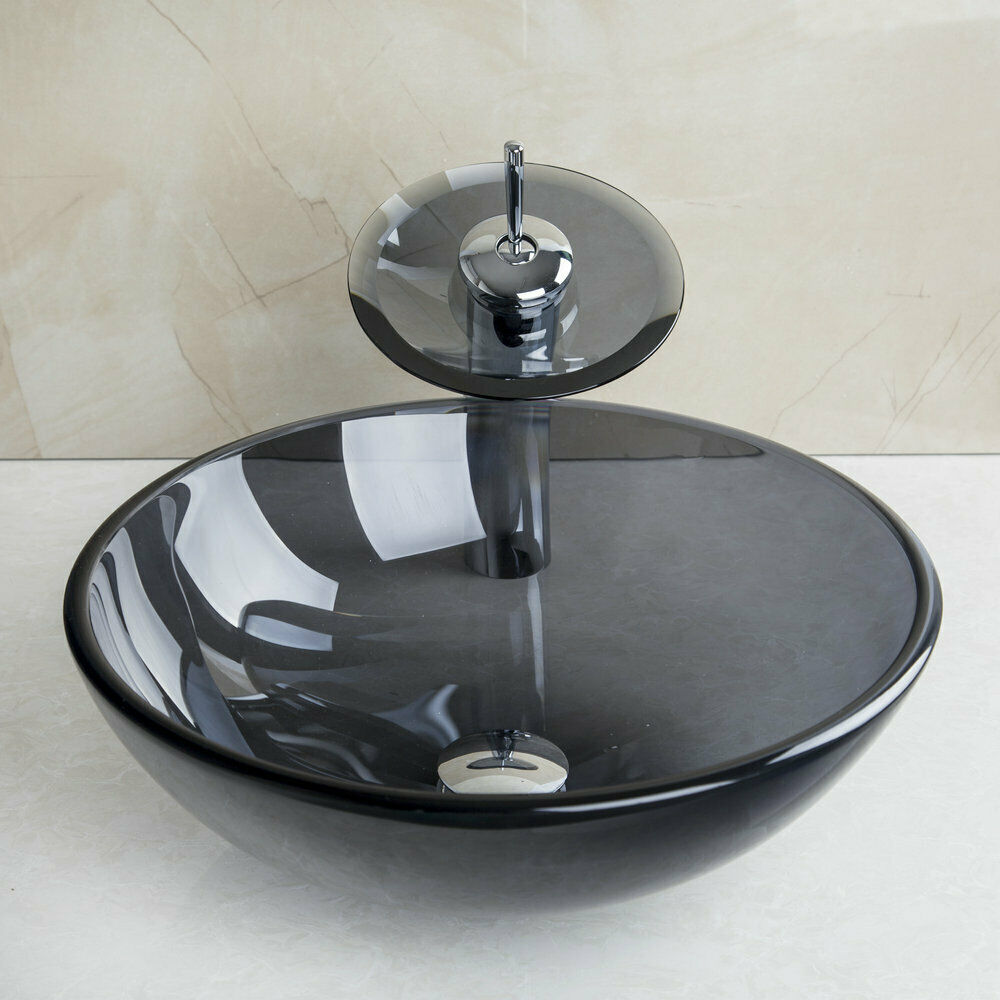 Tempered Glass Vessel Bathroom Round Basin Sink Bowl+Waterfall ...