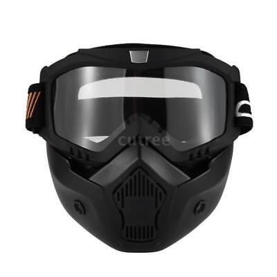 Mortorcycle Maske Abnehmbare Brille und Mund Filter für Jethelm Motocross U2T9