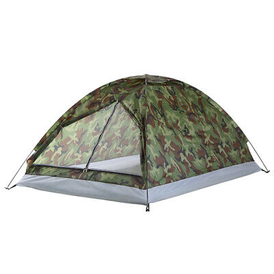 TOMSHOO Camping Tent For 2 Person Single Layer Outdoor Portable Camouflage Q0W0