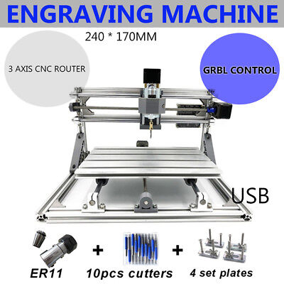 2417 Mini Cnc Mill Router Kit Usb Desktop Metal Engraver Pcb Milling Machine Us
