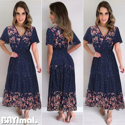 Womens V Neck Short Sleeve Maxi Dress Ladies Casual Holiday Floral Swing Dresses