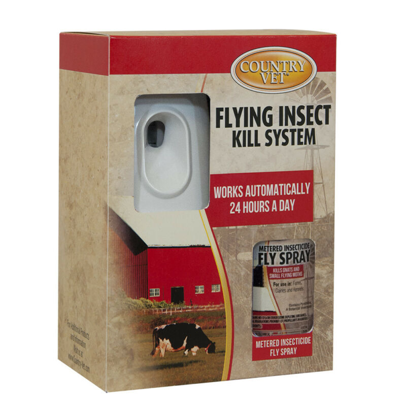 Country Vet Flying Insect Control Kit w/ 1 Dispenser & 1 Metered Fly Spray