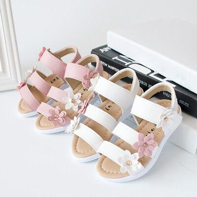 Summer Cute Kids Children Sandals Anti-slip Big Flower Girl Pricness Flat Shoes  - Flower Girl Sandals