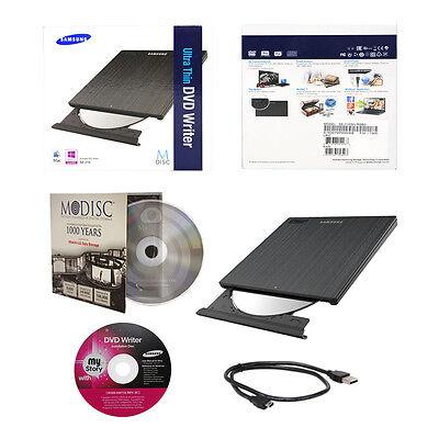 Samsung Ultra Slim CD DVD Burner+FREE 1pk MDisc+USB Cable Portable Writer Drive