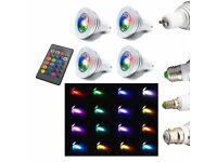 5W RGB LED Bulb Light, E14 E27 B22 GU10, 16 x Colours + Remote Control, Memory Function