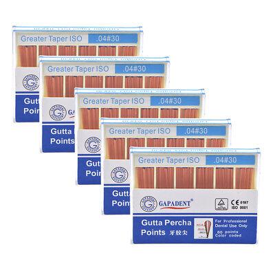 5x Dental Gutta Percha Point 0.04 30 Zinc Oxide Barium Sulfate 60 Pointsbox