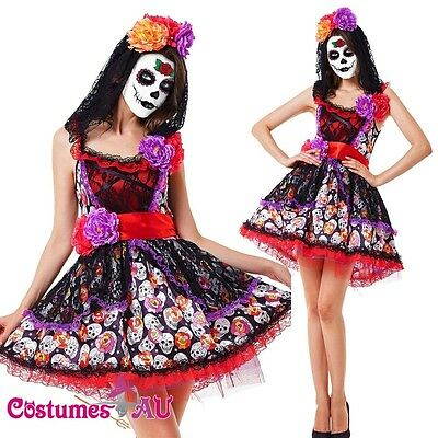 ad Sugar Skull Halloween Zombie Scary Fancy Dress Costume (Halloween Day Dress)