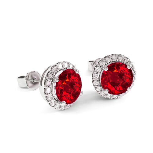 Natural RED and White Topaz Halo Stud Earrings 925 Stamped Sterling Silver