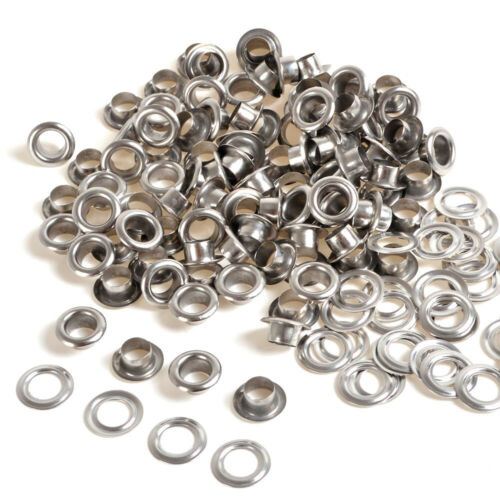 Silver 100 Sets Eyelet 4/5/6/8/10mm w/Washer Grommets Leather Craft Scrapbooking