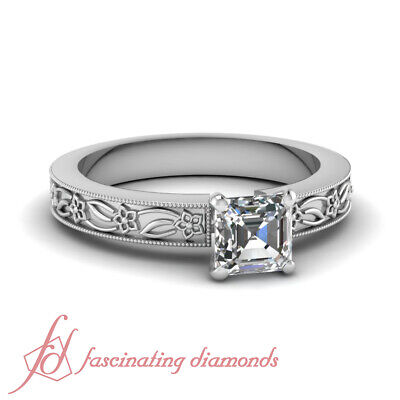 Solitaire Engraved Milgrain Style Natural Diamond Ring 1 Carat Asscher Cut GIA