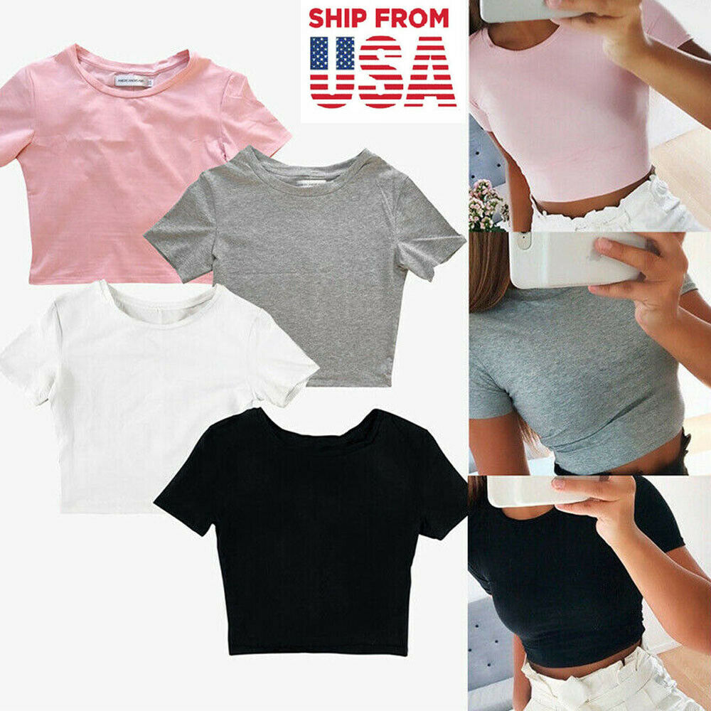 Women Short Sleeve T-Shirt Casual Blouse Bodycon Gym Yoga Sports Crop Tank Top Clothing, Shoes & Accessories