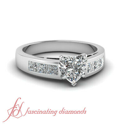 Curved Band Channel Set Engagement Ring 0.85 Ct Heart Shaped VVS2 Diamond GIA