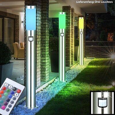 3 x LED Außen Steh Lampe RGB Bewegungsmelder DIMMBAR Stand Leuchte FERNBEDIENUNG
