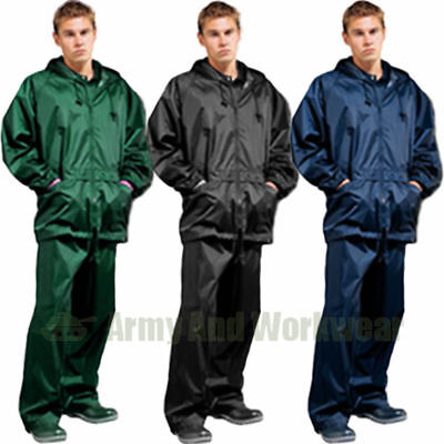Men's Waterproof Windproof Rain Jacket and Trousers Set Rainsuit Suit S-4XL Navy