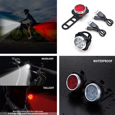 2pcs Bicycle Front Rear Tail Bike Lights USB Charge 4 Mode 3 LED Headlight Lamp