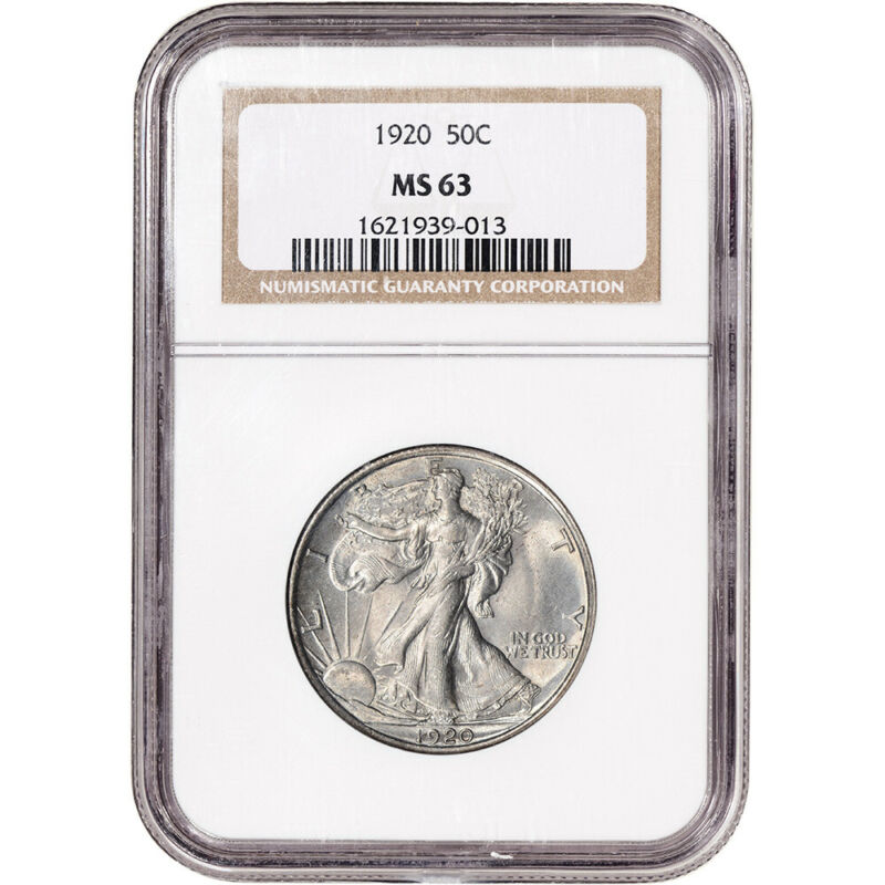 1920 US Walking Liberty Silver Half Dollar 50C - NGC MS63