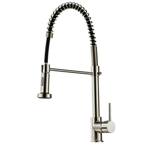 Brushed Finish Nylon Kitchen Sink Faucet Pull Down Sprayer S