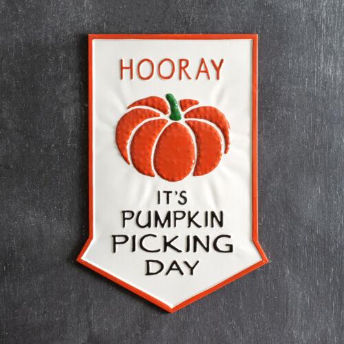 Fall Pumpkin Picking Day large Metal Wall Sign