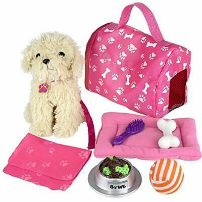 Click n' Play 9 piece Doll Puppy Set and Accessories.