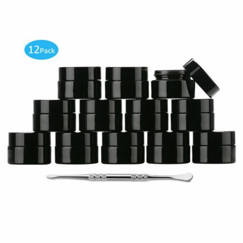 12Pcs Small Black Glass Jar 5ml 10ml 20ml  Oil Wax Container