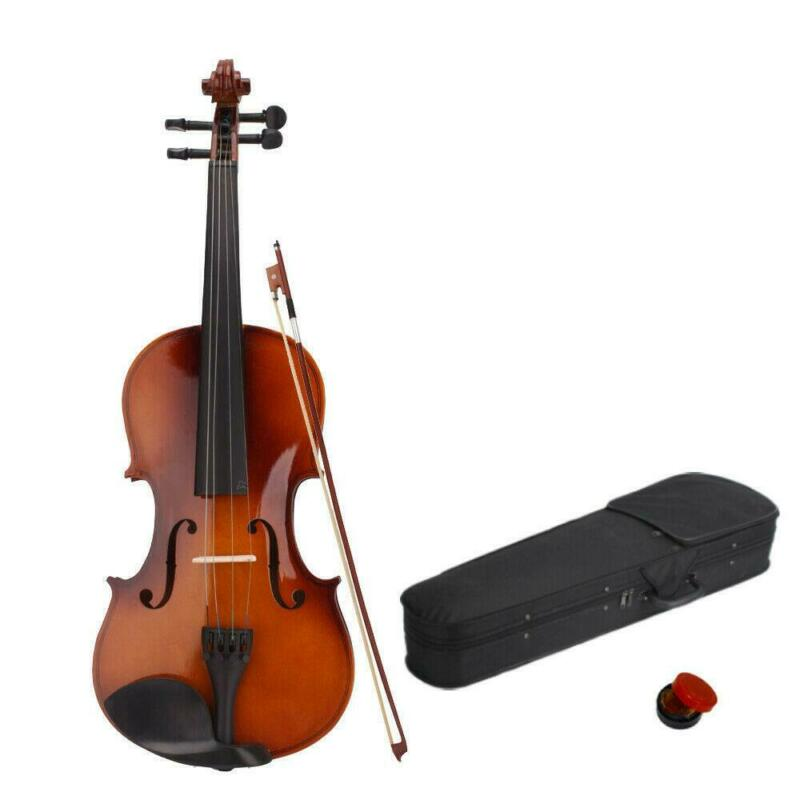 Natural Basswood Full Size 4/4 Acoustic Violin Set with Case + Bow + Rosin