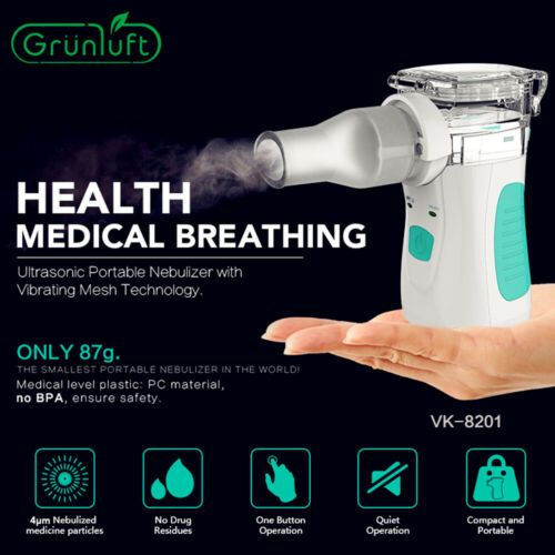 Portable Ultrasonic Mini Nebulizer Inhaler Children Adult Rechargeable Handheld