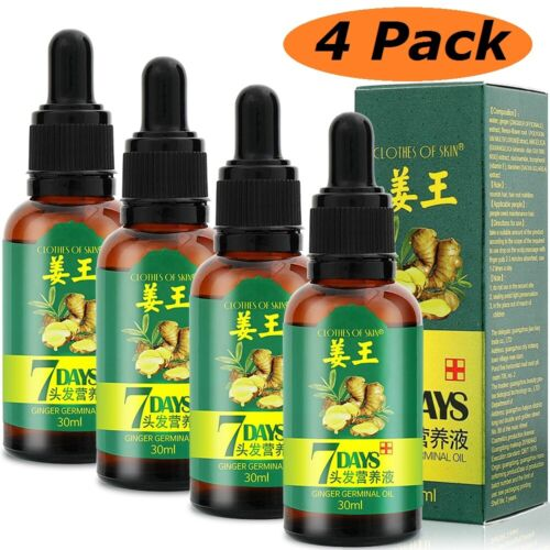 4 Pcs Hair Regrow 7 Day Ginger Germinal Hair Growth Serum Oil Loss Treatements Hair Care & Styling