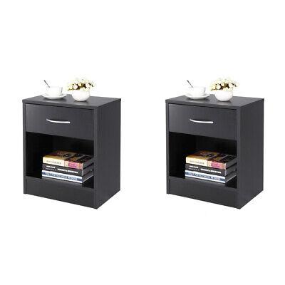 Set Of 2 Bedroom Nightstand Beside Livingriim Sofa End Side Table Storage Black