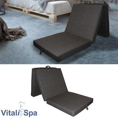 VitaliSpa® Colchón Plegable Cama Invitados Supletoria Viaje Antracita
