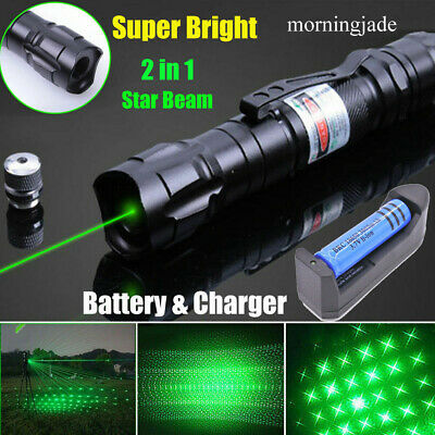 900 Miles Green Laser Pointer Pen Star Beam Rechargeable Lazerbattcharger 1 Mw