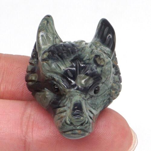 Wolf Head Pendant Natural Green Kambaba Jasper Crystal Carving Healing Necklace