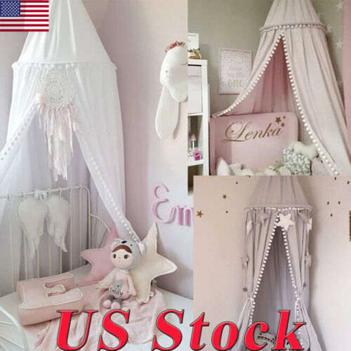 Bed Canopy with Balls Beads For Kids Dome Castle Play Tent H