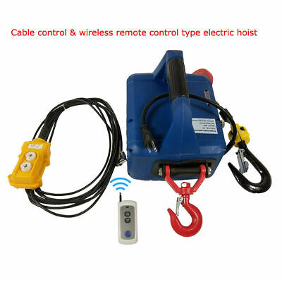 450kgx7.6m Portable Household Electric Hoist Winch Wireless Remote 110v 3in1 New