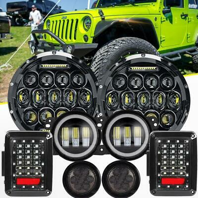 "7"" LED Headlight+Fog Light+Turn Signal+Tail Lamp Kit For Jeep Wrangler JK 07-17"