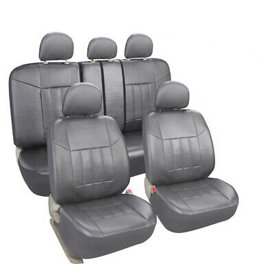 Grey Faux Leather Seat Covers Set Front + Rear Protector for Honda Chevy Toyota