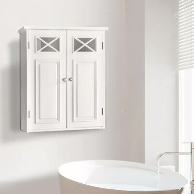 Bathroom Wall Cabinet with Double Door Medicine Cupboard Organizer White