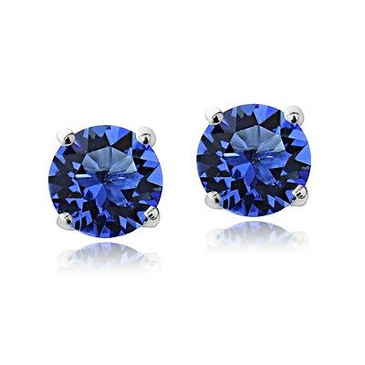 Sterling Silver Blue Stud Earrings  Made with Swarovski Crystals