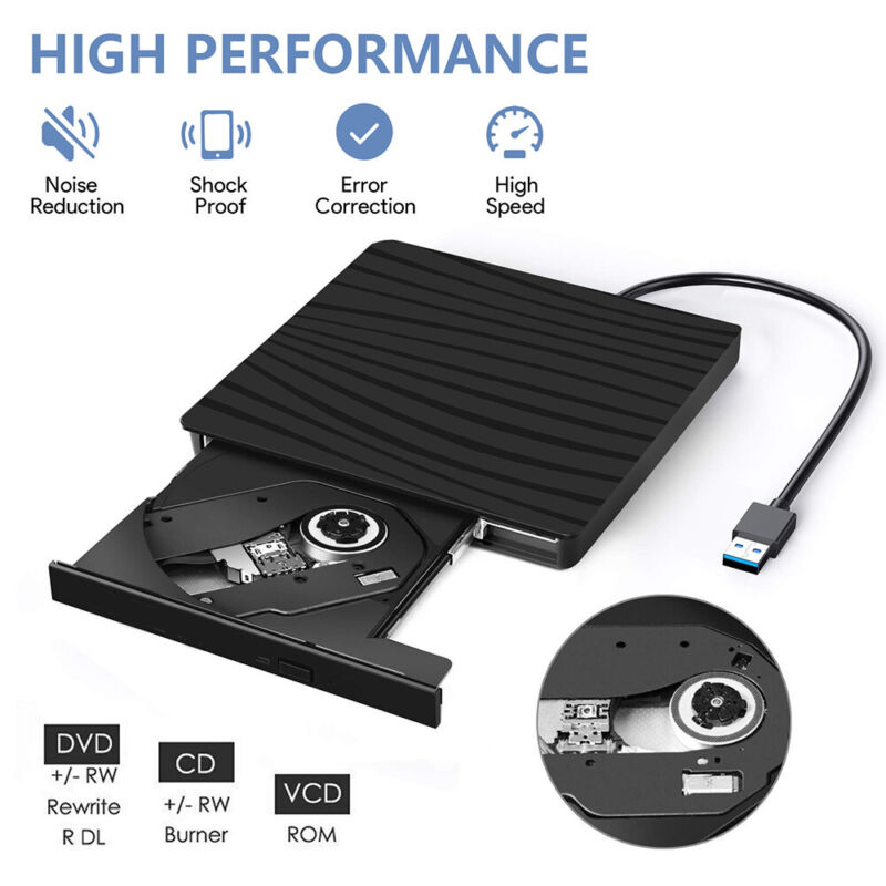2 In 1 External Drive Burner CD RW DVD ROM Burner Reader Writer Optical Player
