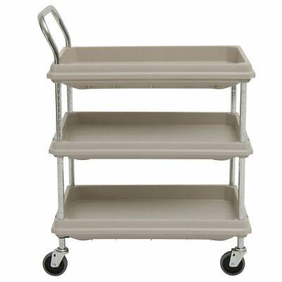 Hubert Utility Cart With 3 Deep Shelves Grey Plastic - 8 34l X 27w X 41h