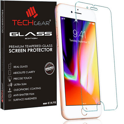 "For Apple iPhone SE 2020 4.7"" Genuine TECHGEAR TEMPERED GLASS Screen Protector"