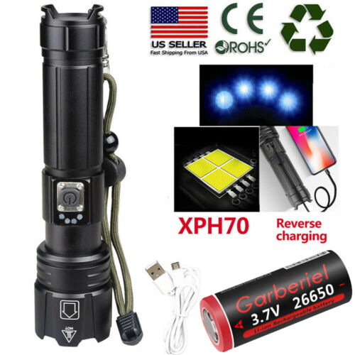 High Lumens Zoomable XHP70.2 5Modes LED USB Rechargeable  26650 Flashlight
