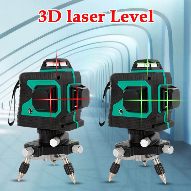 3D 360° 12 Lines Red Laser Level Auto Self Leveling Rotary Cross Measure Tool