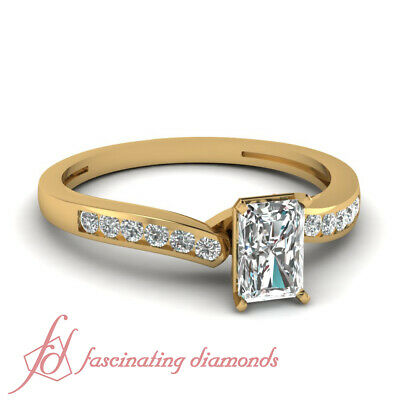 1/2 Ct Petite Radiant Cut & Round Diamond Womens Wedding Ring In Yellow Gold GIA