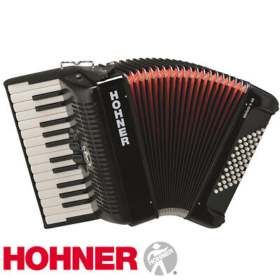 Hohner Bravo II 48 Chromatic Piano Accordion - Jet Black with Gig Bag and Straps