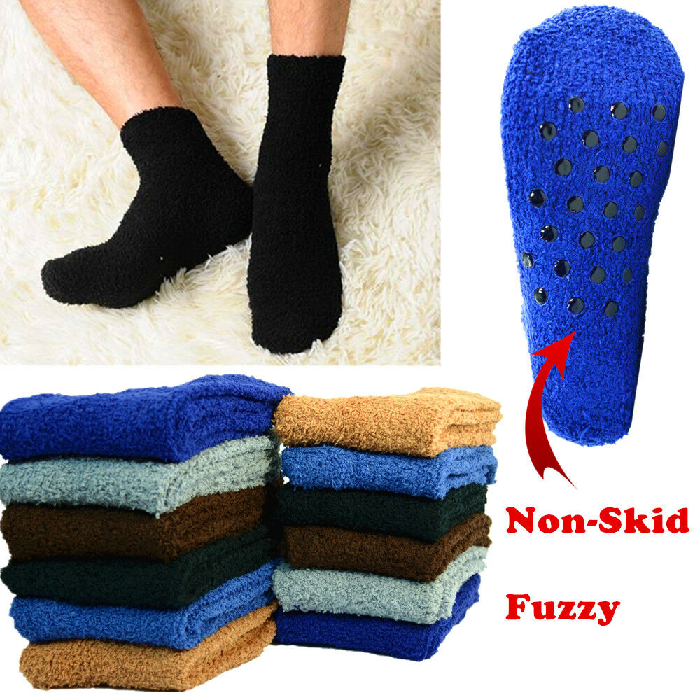 6 Pairs For Mens Soft Cozy Fuzzy Socks With Non-Skid Plain S