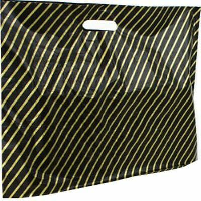 100 Plastic Carrier Bags Black & Gold Stripe Size 15x18x3